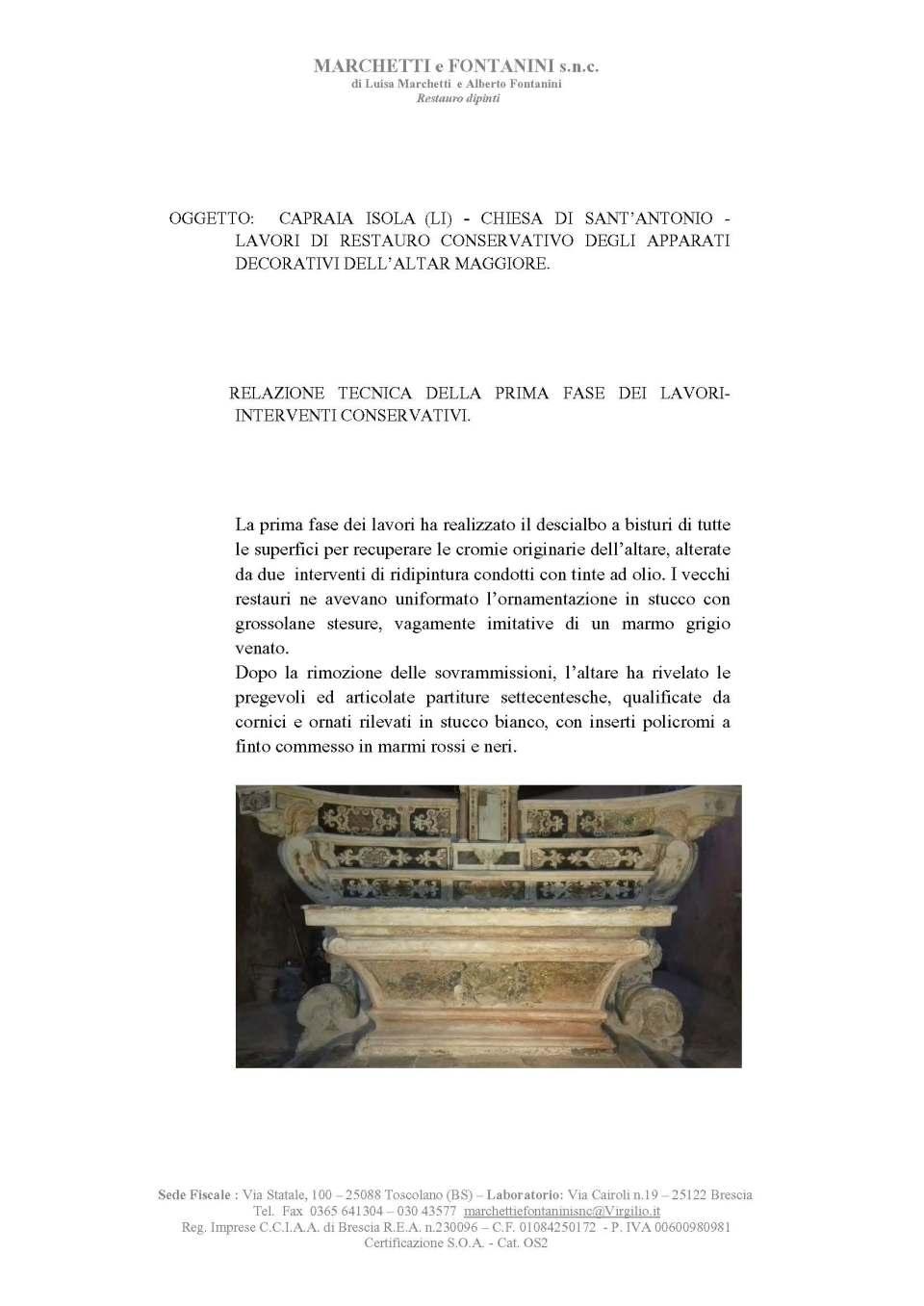 Capraia S Antonio Restauro Altar maggiore Relazione Tecnica I fase Lavori.(1)_Page_1